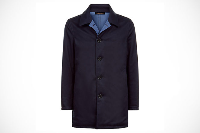 Jaeger London reversible mac mens in navy and blue