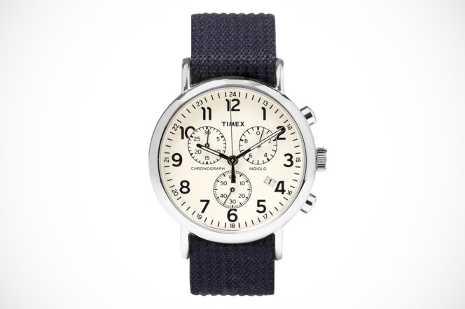 Timex Weekender Stainless Steel And Webbing Chronograph Watch with navy strap