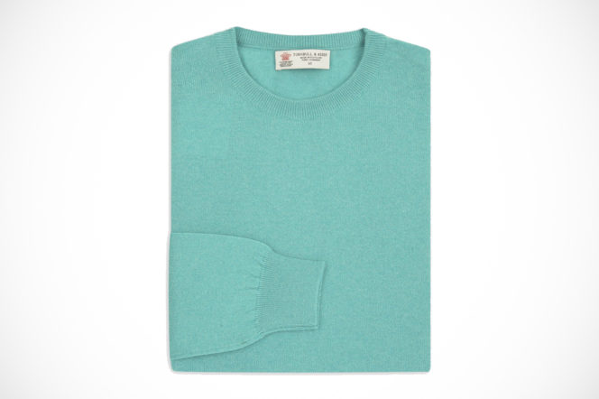 Turnbull & Asser cashmere crew neck jumper in turquoise