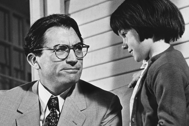 Gregory Peck as Atticus Finch and Mary Badham in To Kill a Mockingbird