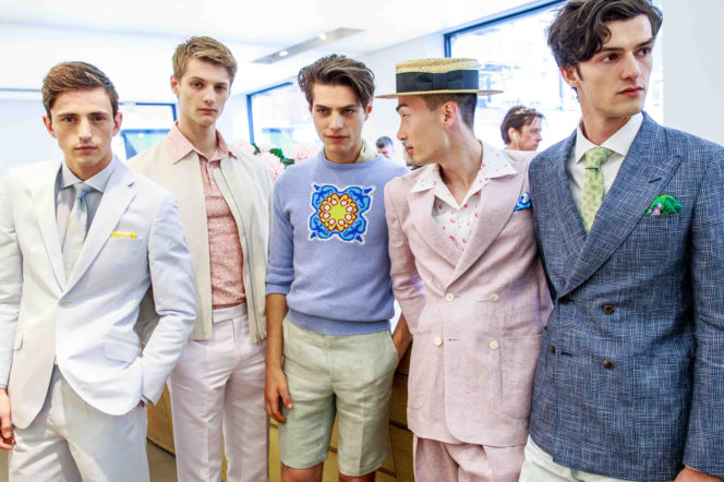 5 models wearing Richard James Savile Row London SS17