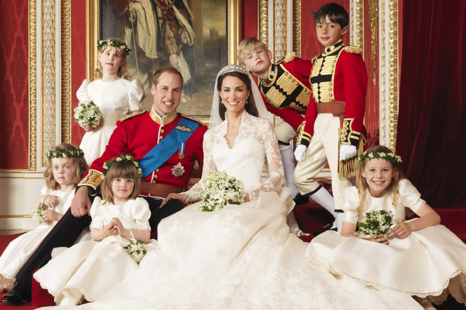 HRH Prince William and Kate Middleton Duke and Duchess of Cambridge official wedding portrait by Hugo Bernand