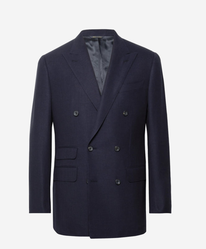 Thom Sweeney Slim-Fit Double-Breasted Wool-Hopsack Blazer