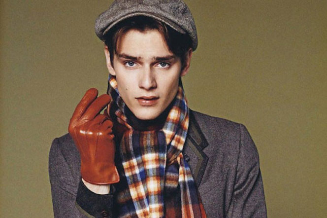 Paul Smith model wears scarf gloves and hat