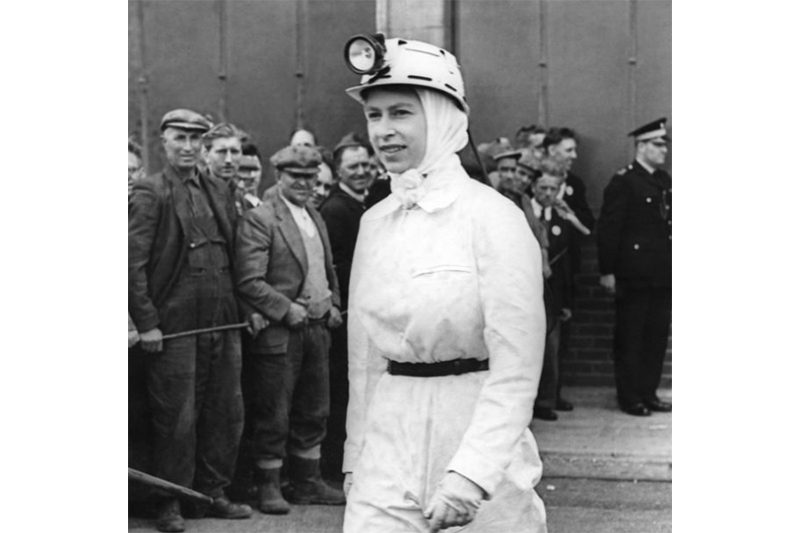 1958. The Queen visiting Rothes Colliery, Fife. She spent about half an hour underground while at the mine (Press Association)