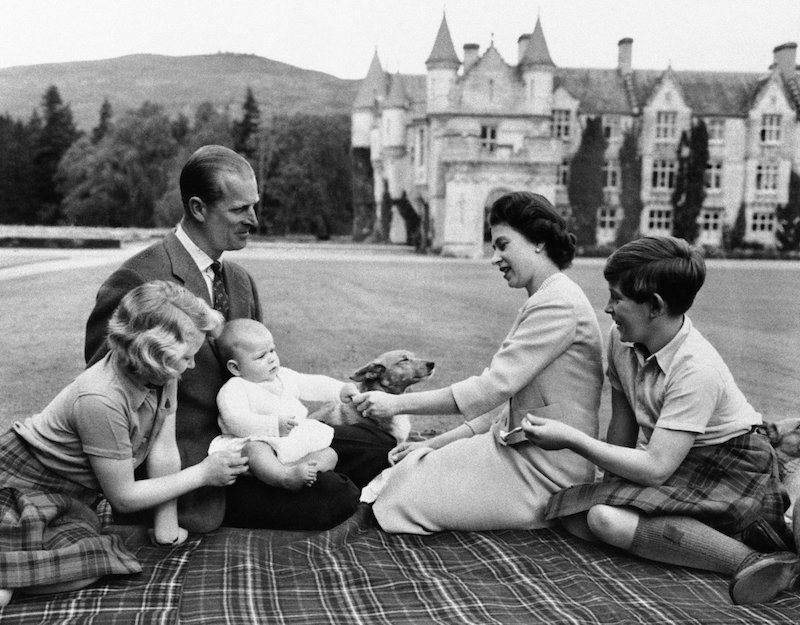 1960 - Princess Anne, the Duke of Edinburgh, a baby Prince Andrew, Queen Elizabeth and Prince Charles at Balmoral. (AP)