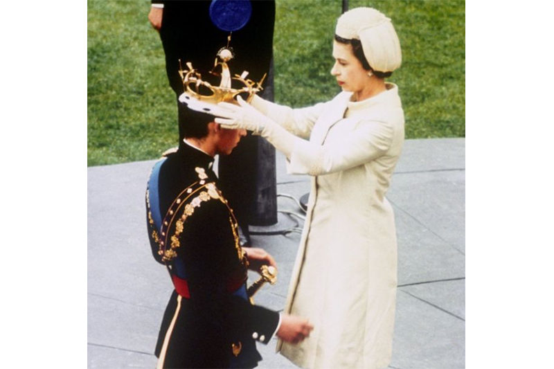 1969. Elizabeth formally invests Prince Charles with the Coronet of the Prince of Wales at Caernarfon Castle (Press Association)