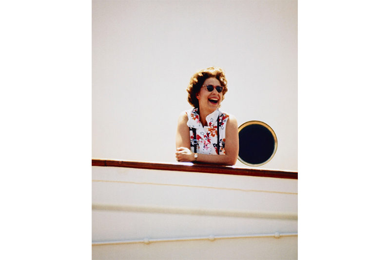 1972 - The Queen on board HMY Britannia. The photographer, Lichfield, had just been pushed in to the pool, hence the Queen's laughter. (Patrick Lichfield)