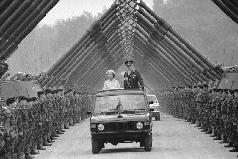 1984 - Queen Elizabeth inspects the Royal Regiment of Artillery in Dortmund, Germany. (AP)
