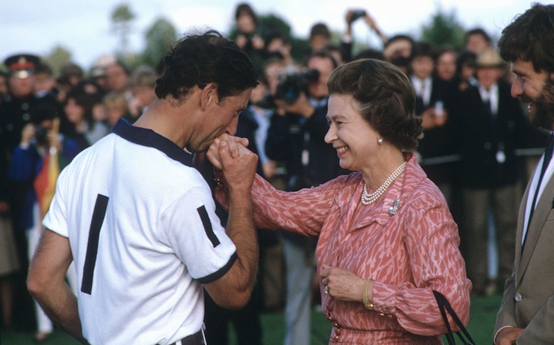 1985 - Charles gives his mother a kiss after a polo match. (Rex Features)