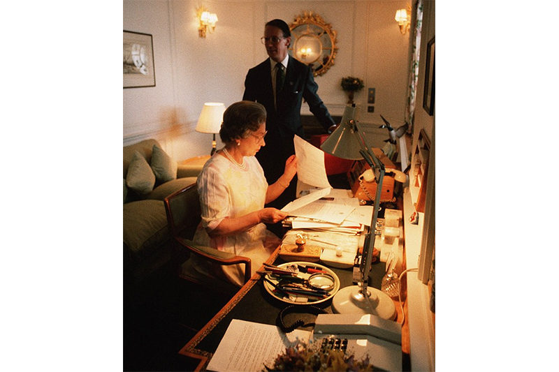 1991 - The Queen at work in her study onboard the the Royal Yacht Britannia (Camera Press)