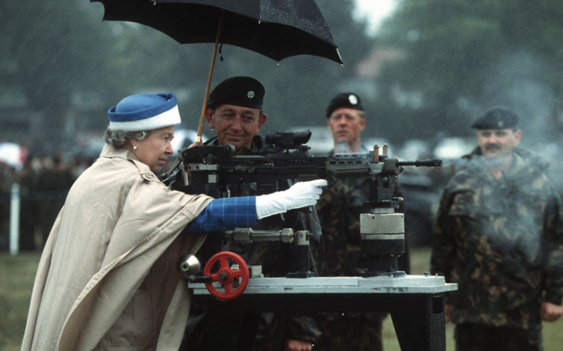 1993 - The Queen fires an SA80 assault rifle at the National Shooting Centre, Bisley. (Rex Features)