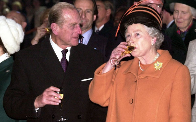 2000 - Philip and the Queen toast the millenium at the Millenium Dome, London. (Arthur Edwards)