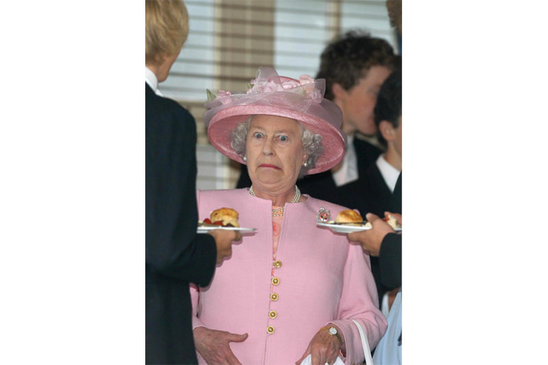 2003 - The Queen takes tea with Eton schoolboys at Guards Polo Club (Mark Stewart)