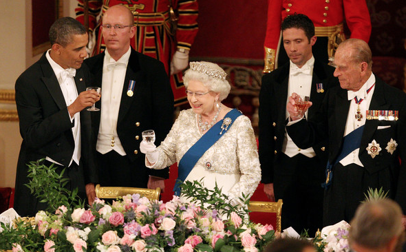 2011 - The Queen makes a toast during the state banquet that was given in honour of President Barack Obama's first visit to Britain. (WPA Pool:Getty Images)