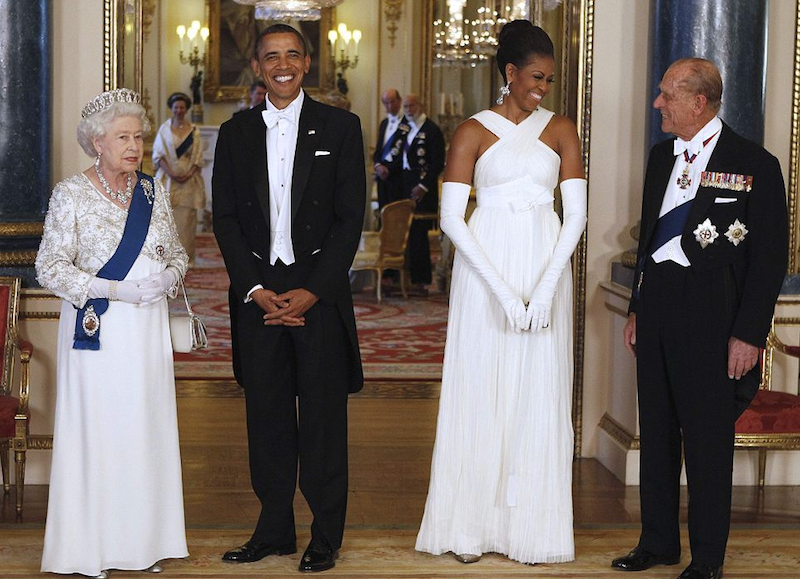 2011. President Barack Obama and the first lady Michelle Obama pose with Elizabeth and the Duke of Edinburgh. (Associated Press)