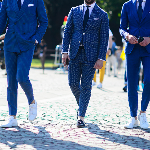 You can wear trainers with a suit