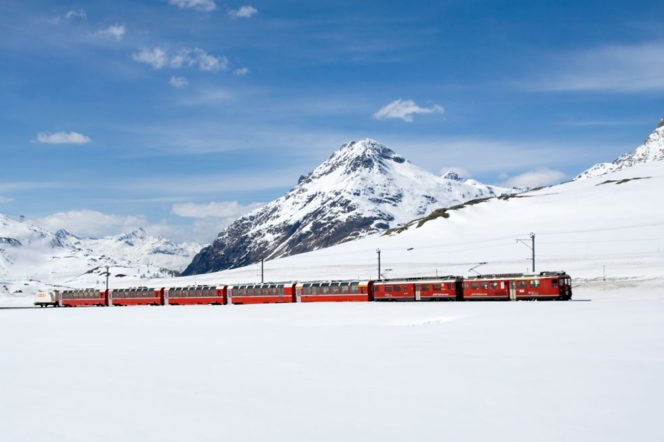 Trans-Siberian railway in winter with snow