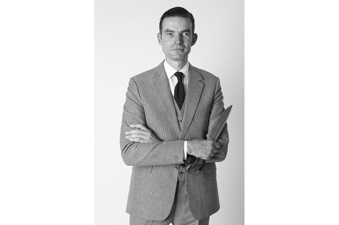 Portrait of Carey Campbell at Huntsman Savile Row London