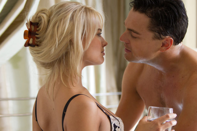 Margot Robbie and Leo DiCaprio in Wolf of Wall Street argument