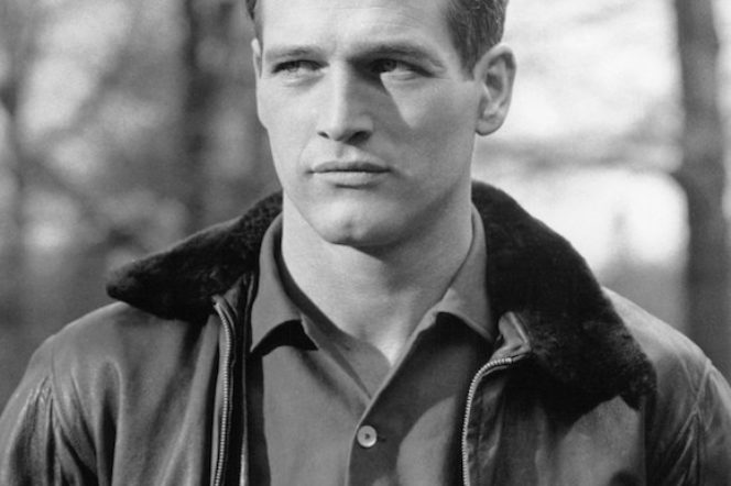 Paul Newman wears a bomber jacket with collar