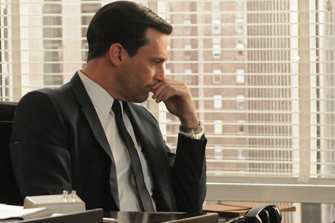 Mad Men's Don Draper played by Jon Hamm wearing a suit