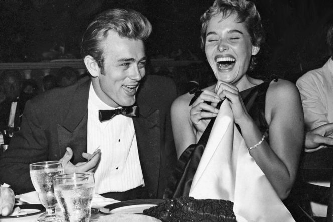 James Dean Ursula Andress laughing at dinner