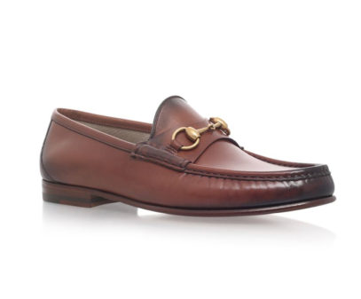 gucci burnished leather horsebit loafers in brown
