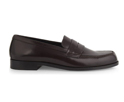 Sandro leather penny loafers in burgundy leather