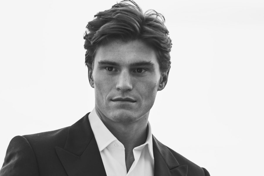Oliver Cheshire shot by Adam Fussell for Gentleman's Journal black and white