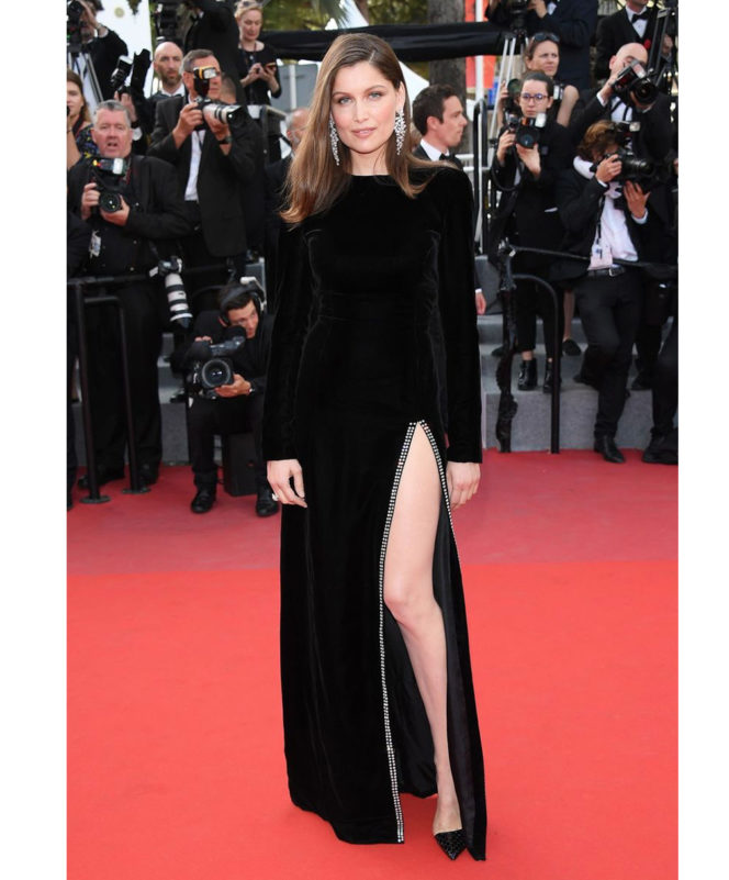 The Meyerowitz Stories premiere - May 21 2017 Laetitia Casta wore a black Saint Laurent gown, teamed with Boucheron jewellery