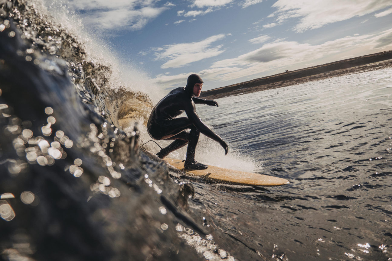 This surfboard is made from reclaimed Scotch whisky barrels