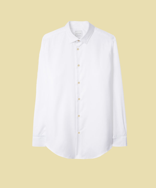 Tailored-Fit White Cotton Shirts