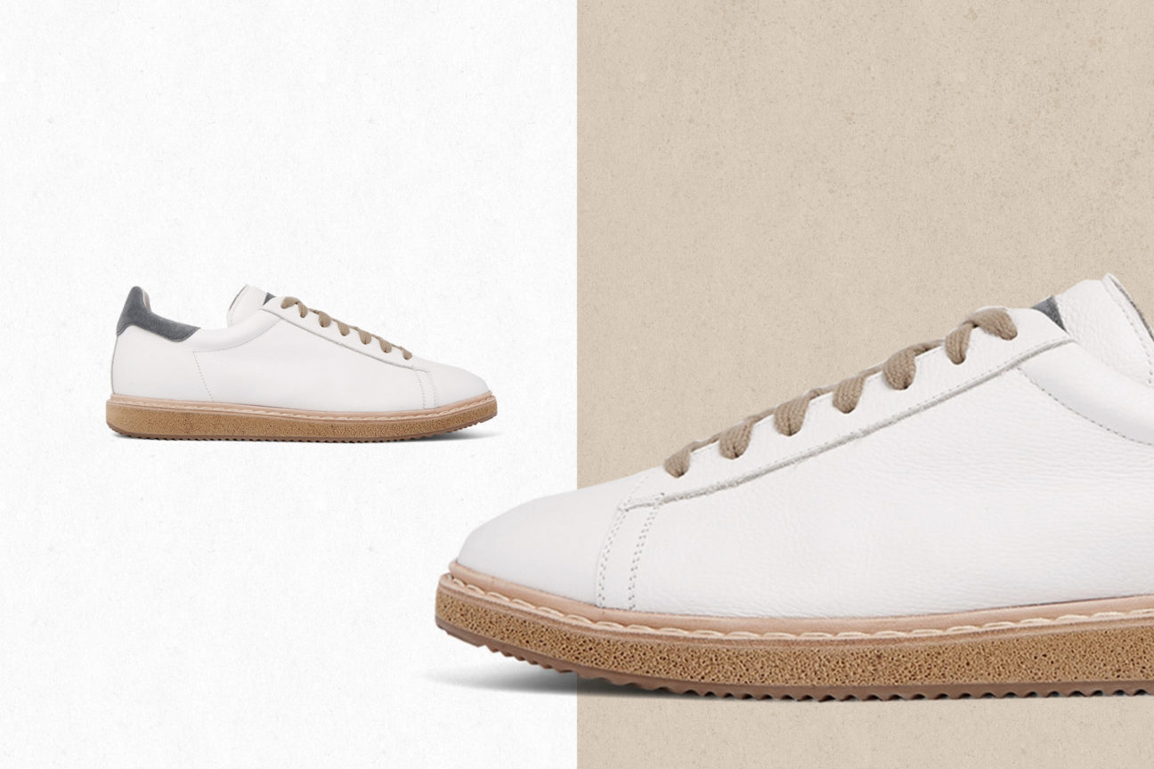 Suede-Trimmed Leather Sneakers by Brunello Cucinelli