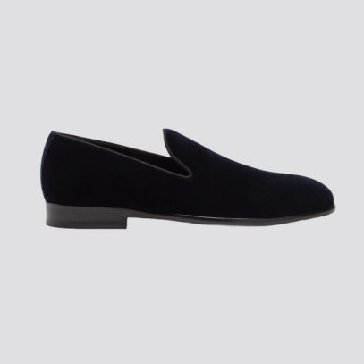 You should be wearing velvet slippers with your black tie