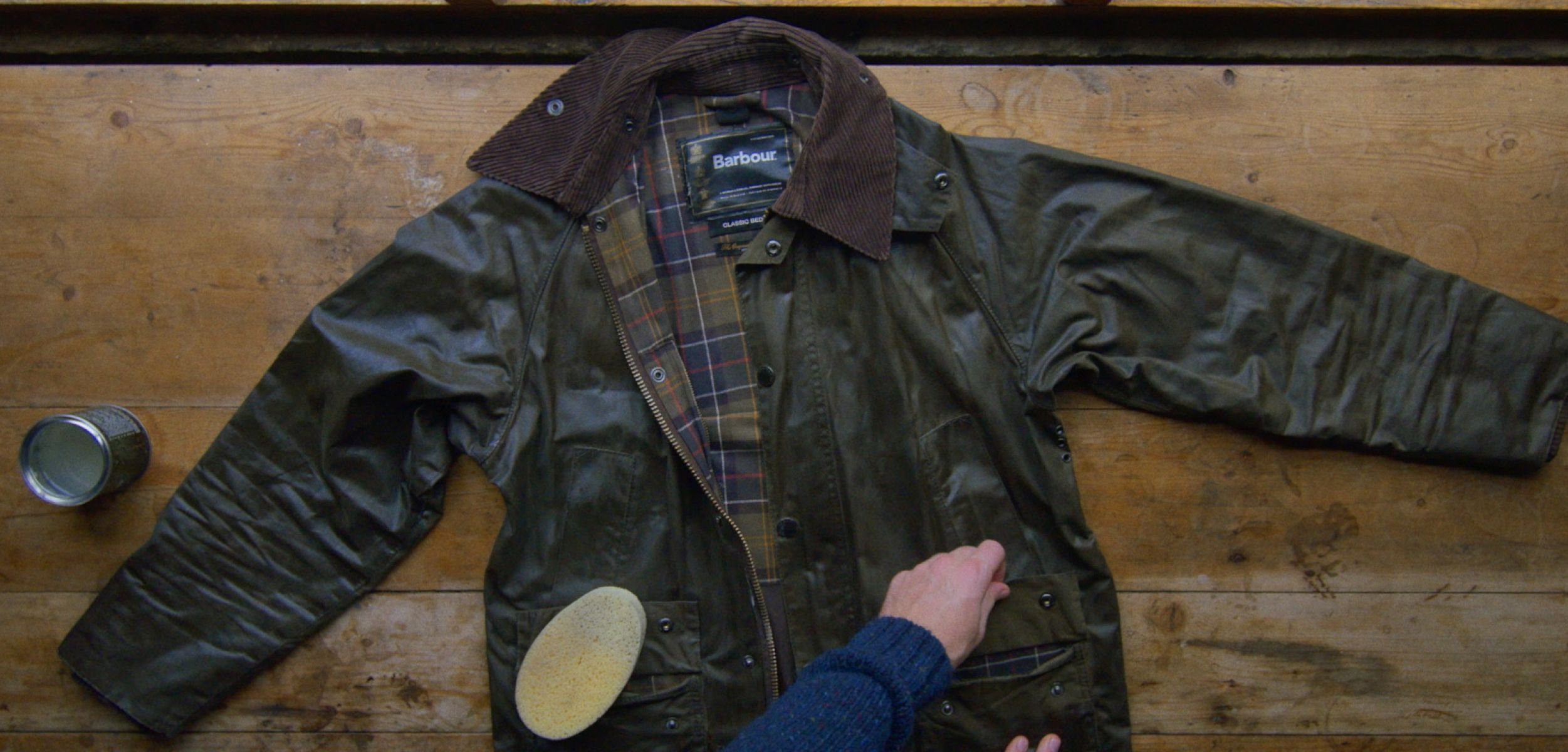 A Barbour waxed canvas jacket is rewaxed