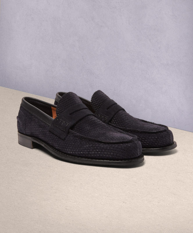 Cheany Dover D Perforated Suede Penny Loafers