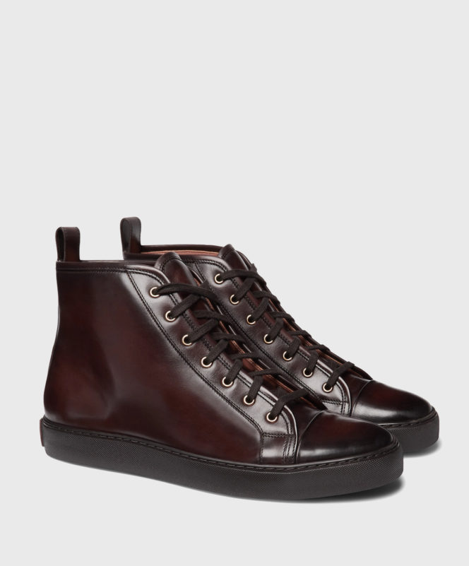 Ralph Lauren Burnished-Leather High-Top Sneakers