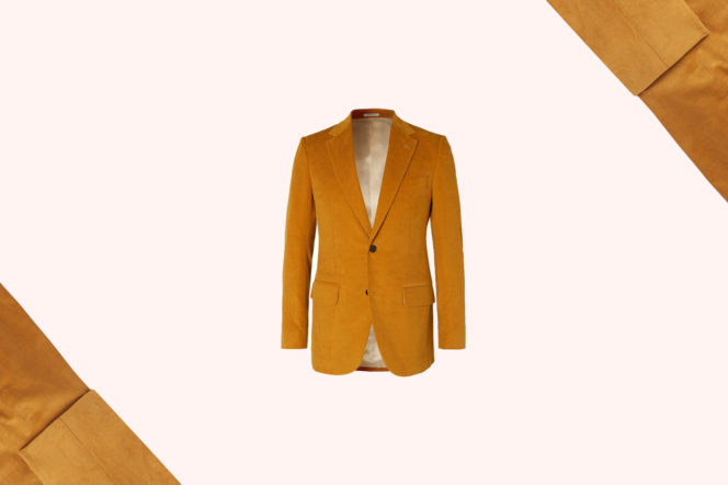 Husbands Mustard Slim Corduroy Suit