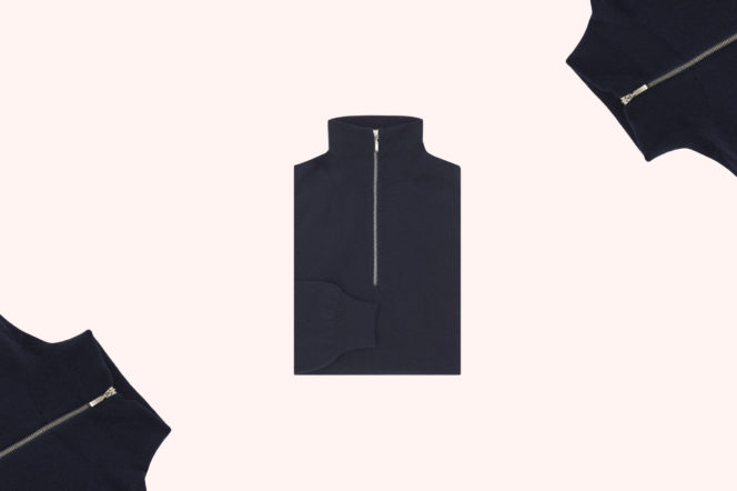 Turnbull & Asser Navy Half-Zip Cashmere Jumper