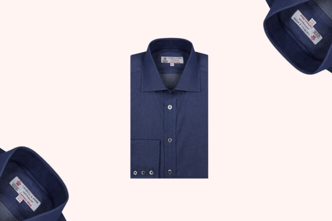 Turnbull & Asser Denim-Cashmere Shirt