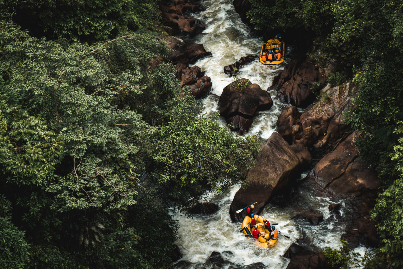 white water rafting two boats down river in canyon