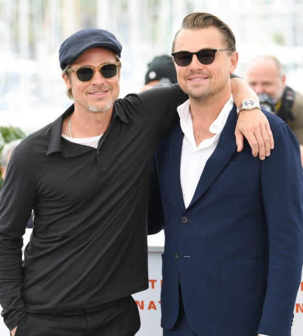 "CANNES, FRANCE - MAY 22: Brad Pitt and Leonardo DiCaprio attend the photocall for ""Once Upon A Time In Hollywood"" during the 72nd annual Cannes Film Festival on May 22, 2019 in Cannes, France. (Photo by Daniele Venturelli/WireImage)"