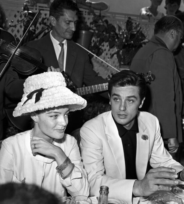 Alain Delon and Romy Schneider to the restaurant in Cannes during the festival (Photo by Daniel FallotINA via Getty Images)
