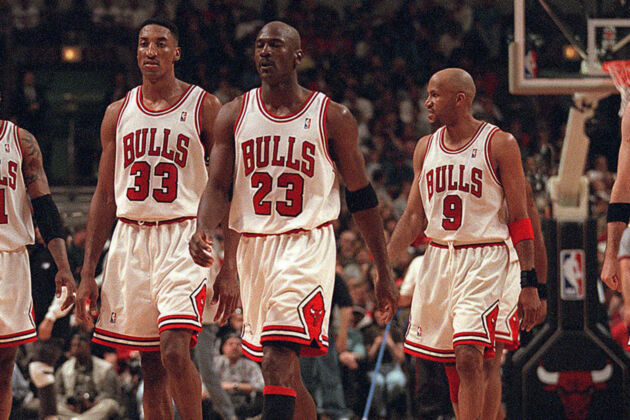 From left, Dennis Rodman, Scottie Pippen, Michael Jordan, Ron Harper and Toni Kukoc were big parts of Bulls teams that won three straight NBA titles from 1996 to 1998. Jordan and Pippen were members of the first
