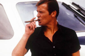 james bond roger moore lighting cigar