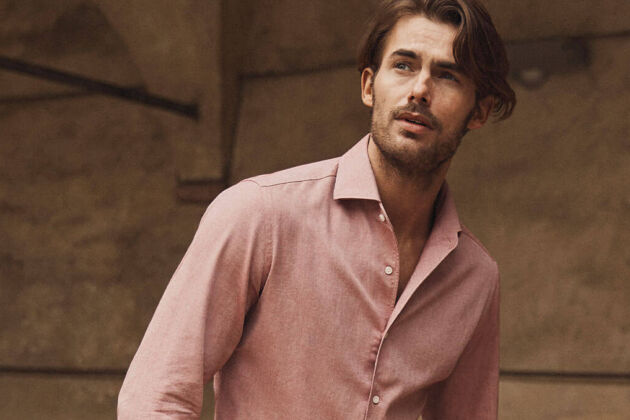 brushed cotton shirt luca faloni